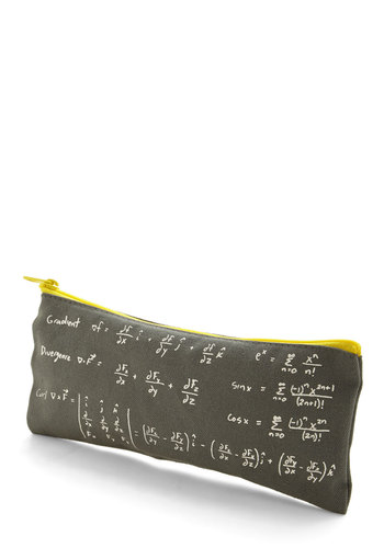 As Easy as Pi Pencil Pouch - Cotton, Woven, Black, Nifty Nerd, Good, Novelty Print, Travel, Scholastic/Collegiate, Under $20