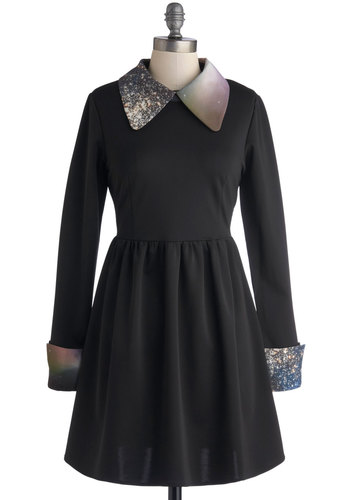 Far Haute Dress by Kling - A-line, Long Sleeve, Collared, Short, Knit, Black, Multi, Casual, Better, Cosmic