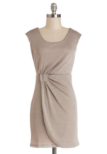 Experiment in Elegance Dress - Knit, Tan, Solid, Ruching, Party, Cap Sleeves, Scoop, Short