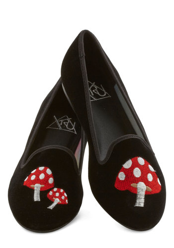 Make Shroom for Me Flat - Black, Solid, Embroidery, Menswear Inspired, Quirky, Flat, Mushrooms, Red, Casual