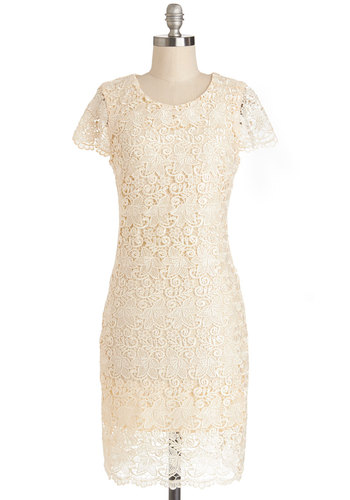 Ladylike Complexity Dress - Cream, Wedding, Bride, Shift, Cap Sleeves, Good, Scoop, Daytime Party, Sheer, Knit, Mid-length, Crochet, Solid, Exposed zipper, Lace, Lace