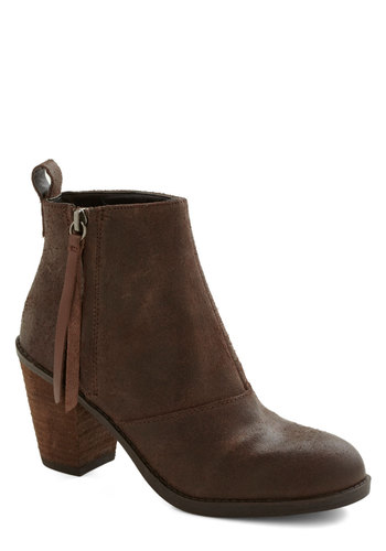 Style Be Seeing You Bootie - Mid, Leather, Brown, Solid, Better, Minimal, Chunky heel
