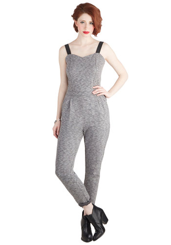 Staying Out Slate Jumpsuit - Long, Knit, Grey, Pockets, Urban, Skinny, Sleeveless, Sweetheart, Pleats, Girls Night Out, 90s, Good, Grey, Non-Denim, Jumpsuit, Print, Fall, Winter, Ankle
