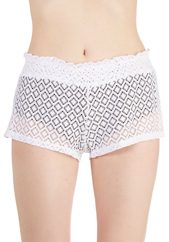 Glowing Horizon Cover-Up Shorts in White by Jessica Simpson Swim - Sheer, Knit, White, Solid, Beach/Resort, Summer, Variation, Cover-up