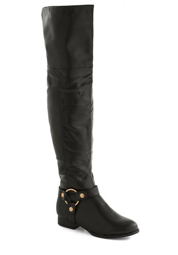 A Haute Hike Boot - Low, Faux Leather, Black, Solid, Good, Over the Knee
