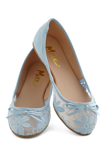 Gossamer Girls Flat in Sky Blue - Flat, Sheer, Faux Leather, Woven, Blue, Solid, Floral, Bows, Embroidery, Good, Daytime Party, Variation, Pastel
