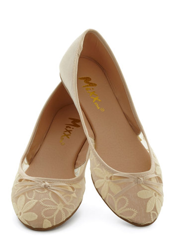 Gossamer Girls Flat in Almond - Flat, Sheer, Woven, Faux Leather, Tan, Solid, Floral, Bows, Embroidery, Good, Daytime Party, Variation