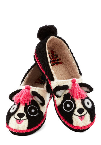 For Feet's Sake Slippers in Panda - Flat, Knit, Print with Animals, Tassels, Quirky, Critters, Good, Multi, Pink, Black, White, Poms, Casual, Variation, Top Rated