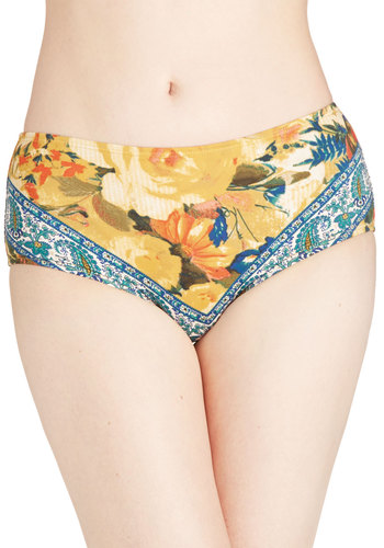 Beachfront Properly Swimsuit Bottom - Knit, Yellow, Blue, Multi, Floral, Paisley, Beach/Resort, Summer