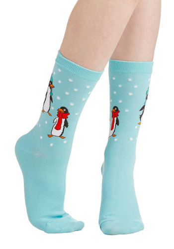 Head to Floe Socks - Blue, Multi, Print with Animals, Winter, Good, Knit, Holiday