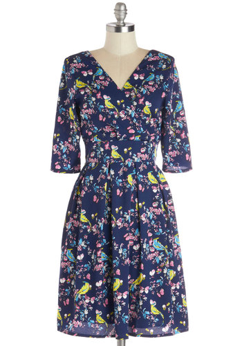 From Bough to Stern Dress - Blue, Floral, Print with Animals, Casual, A-line, 3/4 Sleeve, Better, V Neck, Chiffon, Woven, Multi, Mid-length