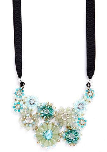 Wine and Fine Dine Crystal Necklace in Mint - Mint, Black, Multi, Beads, Flower, Best, Woven, Green, Variation, Spring, Statement, Party