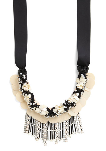 High-Rise Holiday Necklace - Black, Tan / Cream, Solid, Beads, Fringed, Pearls, Special Occasion, Wedding, Bridesmaid, Luxe, Statement, Better, Rhinestones, Sequins