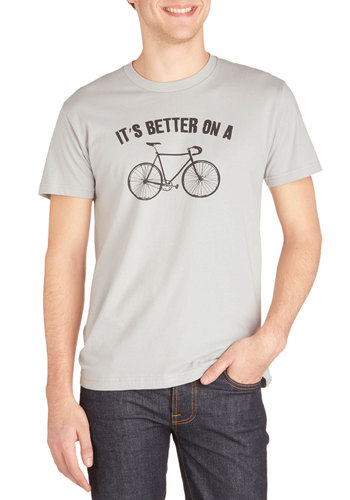 Say Velo! Men's Tee - Jersey, Cotton, Knit, Mid-length, Grey, Novelty Print, Casual, Sayings, Short Sleeves, Better, Crew, Grey, Short Sleeve, Summer, Guys