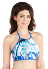 Hit the Cruise Button Swimsuit Top - Knit, Blue, Multi, Beach/Resort, Print, Cutout, Summer