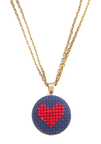 Lover-ly Day Necklace - Red, Blue, Print, Gold, Best, Woven, Folk Art, Valentine's