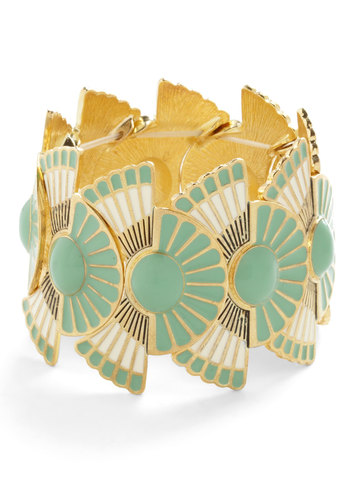 Loyal Fanfare Bracelet - Mint, Tan / Cream, Solid, Special Occasion, Vintage Inspired, 20s, 30s, Good, Gold, Gold, Festival