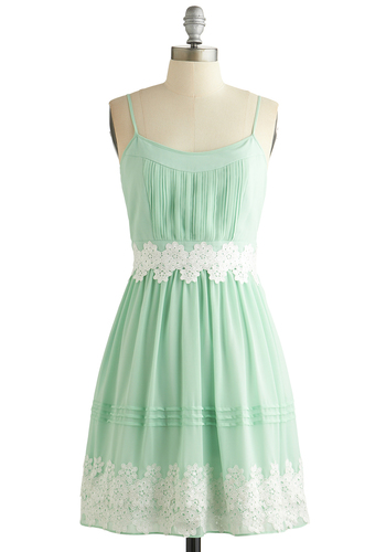 Life is But a Gleam Dress in Mint - Mint, White, Crochet, A-line, Spaghetti Straps, Better, Scoop, Pleats, Spring, Variation, Chiffon, Sheer, Woven, Mid-length, Wedding, Bridesmaid, Daytime Party