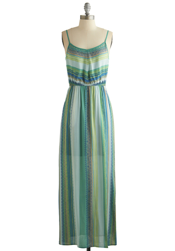 Lower Haight Lady Dress - Green, Multi, Cutout, Casual, Maxi, Spaghetti Straps, Better, Scoop, Stripes, Beach/Resort, Sheer, Woven, Long, Pockets, Boho, Spring, Summer, Festival