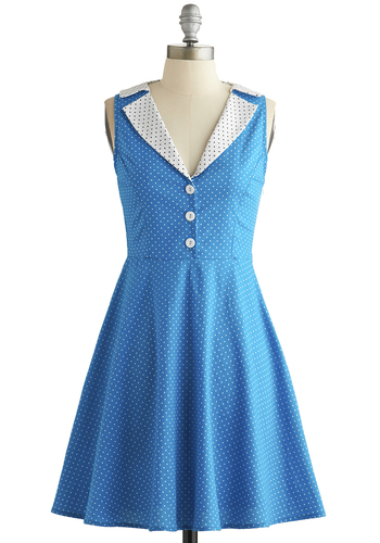 Playwright Date Dress in Blue - Blue, White, Polka Dots, Buttons, Casual, A-line, Sleeveless, Good, Vintage Inspired, 50s, Variation, Collared, Mid-length, Exclusives, Woven, Top Rated, WPI