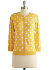 Jukebox Jubilee Cardigan - Yellow, Polka Dots, Buttons, 3/4 Sleeve, Better, Yellow, 3/4 Sleeve, White, Crew, Knit, Spring, Mid-length, Work