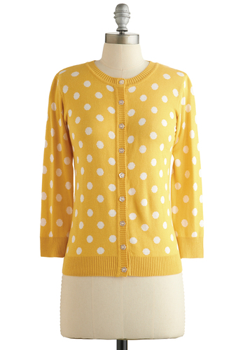 Jukebox Jubilee Cardigan in Yellow - Yellow, Polka Dots, Buttons, 3/4 Sleeve, Better, Yellow, 3/4 Sleeve, White, Crew, Knit, Spring, Mid-length, Work, Top Rated