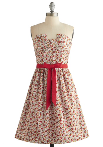 Makings of Marvelous Dress - Multi, Floral, Belted, Daytime Party, Fit & Flare, Strapless, Better, A-line, Sweetheart, Cotton, Woven, Long, Spring, Summer