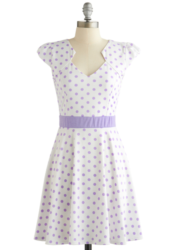 The Story of Citrus Dress in Lilac Dot - Knit, White, Purple, Polka Dots, Casual, A-line, Cap Sleeves, Good, Pastel, Variation, Spring, Show On Featured Sale, Mid-length