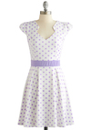 The Story of Citrus Dress in Lilac Dots - Knit, White, Purple, Polka Dots, Casual, A-line, Cap Sleeves, Good, Pastel, Variation, Mid-length, Spring