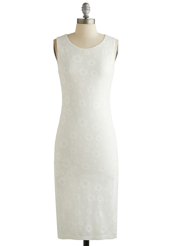 Whispered Wonder Dress - White, Solid, Bride, Sheath / Shift, Sleeveless, Good, Scoop, Floral, Daytime Party, Wedding, Sheer, Knit, Long