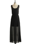 Obsidian Allure Dress - Black, Solid, Party, Maxi, Tank top (2 thick straps), Good, Scoop, Backless, Chiffon, Sheer, Woven, Long