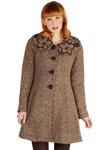 Dimension My Name Coat by Ryu - Knit, Woven, Long, 2, Brown, Buttons, Vintage Inspired, Folk Art, Long Sleeve, Better, Collared, Brown, Long Sleeve, Flower, Pockets, Fall, Winter