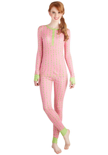 There's a Nap for That Pajamas in Pickles by Munki Munki - Knit, Pink, Green, Novelty Print, Buttons, Quirky, Skinny, Long Sleeve, Variation, Crew