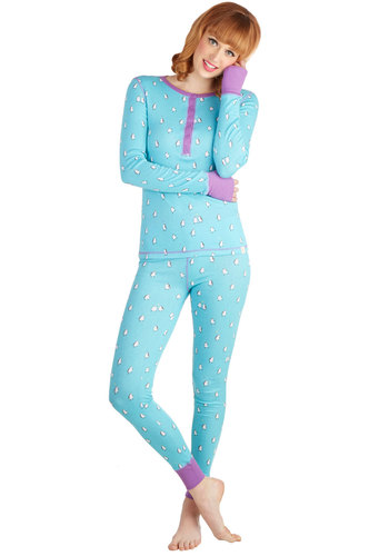 There's a Nap for That Pajamas in Penguins by Munki Munki - Knit, Blue, Purple, Print with Animals, Buttons, Skinny, Long Sleeve, Winter, Variation, Crew