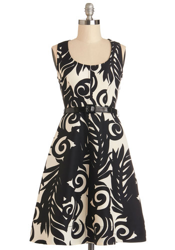 Plenty by Tracy Reese Saturated in Style Dress in Mono by Plenty by Tracy Reese - Woven, Mid-length, Black, White, Print, Belted, Daytime Party, A-line, Sleeveless, Variation, Scoop