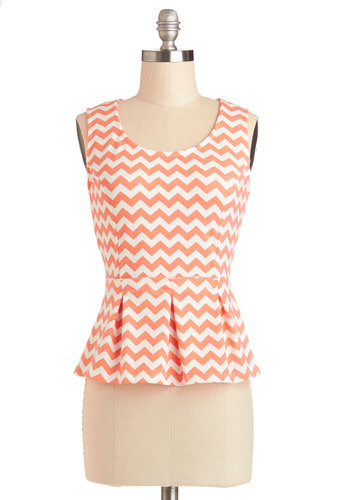 Pastry Taster Top - Knit, Short, Orange, White, Work, Peplum, Sleeveless, Scoop, Orange, Sleeveless, Chevron, Spring, Americana