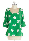 Daily Lunch Date Top in Elephant - Mid-length, Chiffon, Woven, Green, White, Print with Animals, Critters, 3/4 Sleeve, Scoop, Green, 3/4 Sleeve, Variation