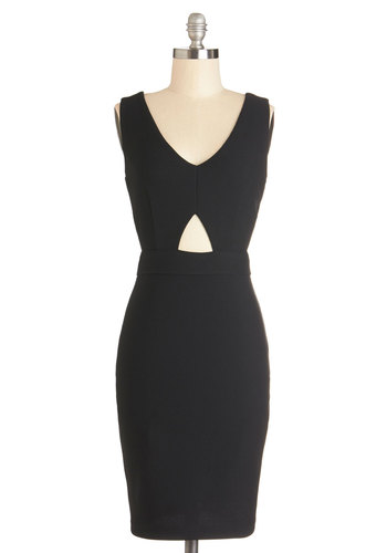 Groove on Over Dress - Sheer, Knit, Mid-length, Black, Solid, Cutout, Party, Cocktail, Girls Night Out, Sheath / Shift, Sleeveless, V Neck