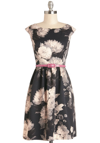 Petit Four Party Dress - Woven, Mid-length, Pink, Tan / Cream, Black, Floral, Pockets, Belted, A-line, Cap Sleeves, Boat, Grey, Graduation, Party