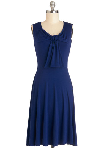 Inner Harbor Dress - Knit, Mid-length, Blue, Solid, Bows, Casual, A-line, Sleeveless, Jersey, Scoop