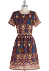 Naturalist Talent Dress in Purple by Ruby Rocks - Woven, Mid-length, Multi, Print, Exposed zipper, Poms, Casual, Folk Art, A-line, Short Sleeves, Scoop