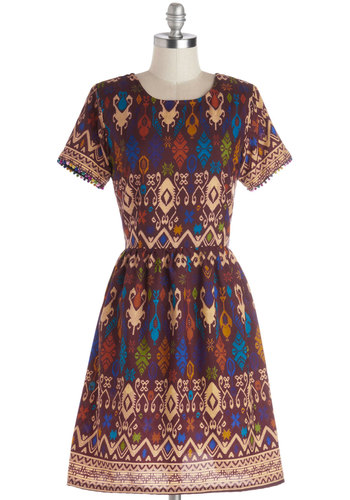 Naturalist Talent Dress in Purple - Woven, Mid-length, Multi, Print, Exposed zipper, Poms, Casual, Folk Art, A-line, Short Sleeves, Scoop