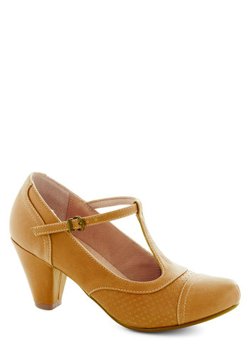 Just Like Honey Heel in Yellow by Chelsea Crew - High, Yellow, Solid, Better, T-Strap
