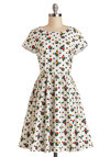 Two-Steppin' Out Dress by Bea & Dot - Mid-length, Cotton, Woven, White, Multi, Polka Dots, Floral, Casual, A-line, Short Sleeves, Better, Pockets, Vintage Inspired, 50s, Fit & Flare, Exclusives, Private Label