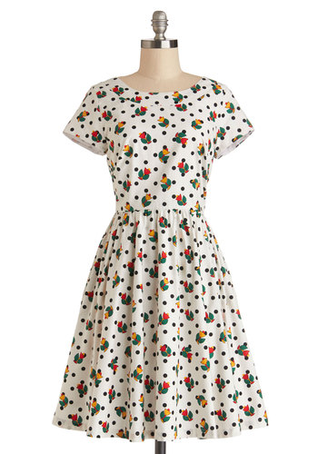 Two-Steppin' Out Dress by Bea & Dot - Cotton, Woven, Polka Dots, Floral, Casual, A-line, Short Sleeves, Better, Pockets, Vintage Inspired, 50s, Fit & Flare, Exclusives, Private Label, Multi, Red, Yellow, Black, White, Show On Featured Sale, Mid-length