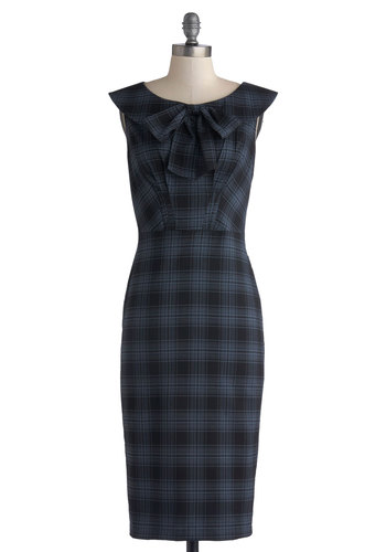 How Thoughtful! Dress by Stop Staring! - Woven, Long, Blue, Black, Plaid, Tie Neck, Work, Vintage Inspired, 50s, Shift, Cap Sleeves