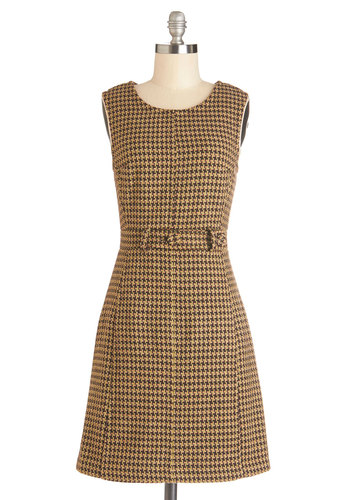 Doo-Wop You Want Dress - Woven, Mid-length, Yellow, Brown, Houndstooth, Work, Shift, Sleeveless, Better, Scoop, Vintage Inspired, 60s