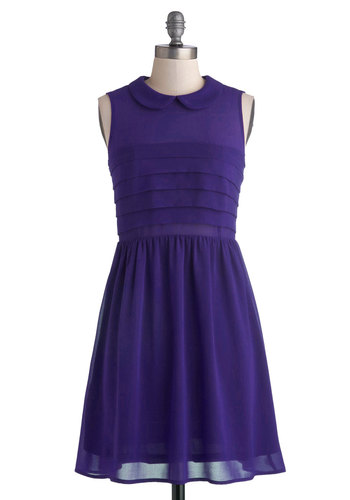 Berry Craze Dress in Grape - Sheer, Woven, Short, Chiffon, Purple, Solid, Peter Pan Collar, Party, A-line, Sleeveless, Good, Collared, Pleats, Variation