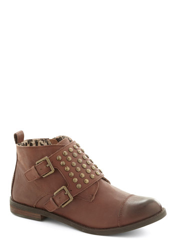 Bring Your Best Bootie - Brown, Buckles, Studs, Menswear Inspired, Low, Best, Leather, Rustic