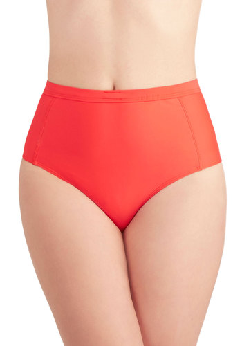 Shore as Can Be Swimsuit Bottom - Red, Solid, Vintage Inspired, High Waist, Knit, Cutout, Beach/Resort, 70s, Minimal, Summer